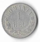 Moneda 1 leu 1874 - Romania, 5 g argint 0,8350