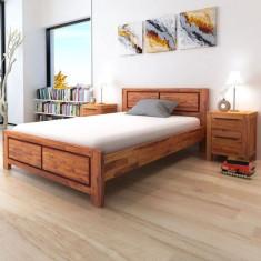 Cadru pat cu saltea spumă de memorie lemn solid maro 140x200 cm - Pat dormitor