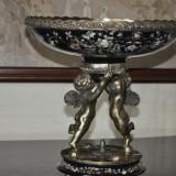 Fructiera mare din portelan montat in bronz