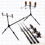 Kit pescuit 3 lansete Black 3,6m cu 3 mulinete NBR50 si rod pod full