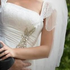 Rochie Mireasa Timisoara, Dantela, Trena Lunga, Marime 36-40, M, corset, Marime: M/L, Culoare: Alb