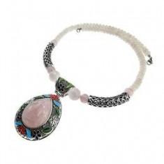 Colier masiv pietre naturale cuart roz UNICAT, GlamBazaar - Colier fashion