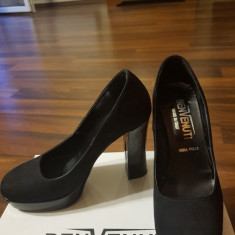 Pantofi piele intoarsa - Pantof dama Benvenuti, Culoare: Negru, Marime: 36, Cu toc