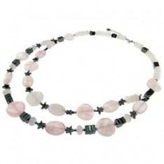 Colier doua siruri din pietre naturale cuart roz si hematit, GlamBazaar - Colier fashion