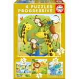 Puzzle Progresiv Wild Animals 73 Piese, Educa