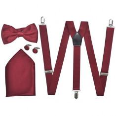 Set accesorii costum seară/ frac bărbați bretele & papion burgundy - Bretele Barbati