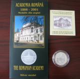 Romania - BNR  - Medalie Argint 2001 -  135 de ani Academia Romane