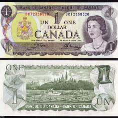 !!! CANADA - 1 DOLAR 1973 - P 85 c - UNC / SEMN. DIN SCAN - bancnota america