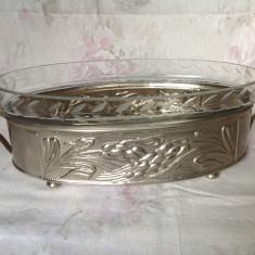 Fructiera vintage romaneasca ,metal si sticla ,  fabrica Aradeanca
