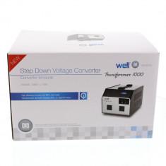 Convertor tensiune 220V -> 110V 1000VA 2 iesiri Well; Cod EAN: 5948636027815