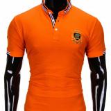 Tricou pentru barbati, stil tunica, portocaliu simplu, slim fit, casual - S849