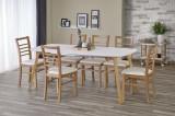 Set masa din MDF si lemn Kajetan + 6 scaune Adrian Honey Oak / White