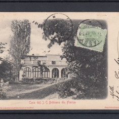PITESTI -FLORICA CASA I. C. BRATIANU DIN FLORICA TCV CLASICA CIRCULATA 1907 - Carte Postala Muntenia pana la 1904, Printata