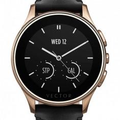 Ceas Smartwatch Vector Luna, Finisaj auriu roz, Curea piele croco neagra