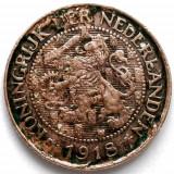WW1 , Olanda Wilhelmina I (1911-1930) 1 Cent 1918, Europa, Cupru (arama)