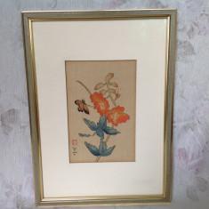 Tablou / pictura pe matase, China sau Japonia - Pictor strain, Natura, Acuarela, Altul