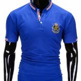 Tricou pentru barbati, stil tunica, albastru simplu, slim fit, casual - S849