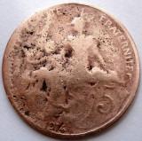 WW1 , FRANTA , 5 CENTIMES 1914 , DIAMETRU 25mm., Europa, Cupru (arama)