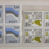 Serie completa Estonia - Drapelul si harta 1991, blocuri de 4, Nestampilat