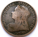 MAREA BRITANIE , VICTORIA , 1 PENNY 1895 , PRIMUL AN DE BATERE , 31mm., Europa, Cupru (arama)