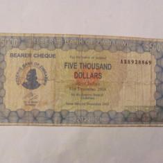 CY - 5000 dollars dolari 2003 Zimbabwe