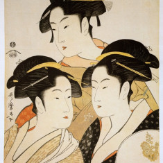 "STAMPA JAPONIA (REPRODUCERE) 255X365 mm KITAGAWA UTAMARO ""THREE BEAUTIES OF ..."