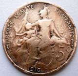 WW1 , FRANTA , 5 CENTIMES 1916 ★, VARIANTA MAI RARA - MONETARIA MADRID !, Europa, Cupru (arama)