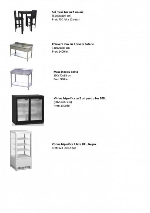 Lichidare stoc, mobilier  si echipamente noi de bar