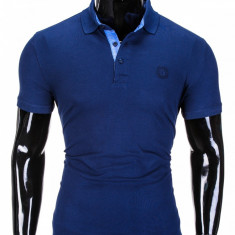 Tricou barbati polo, bleumarin simplu, slim fit, casual - S837, L, M, S, XL
