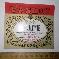 ETICHETA VECHE CONIAC / COGNAC VASLUI