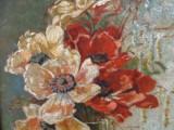 Lalele in vas , tablou  ulei pe carton ,perioada interbelica., Flori, Realism