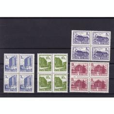 ROMANIA 1991 LP 1257 HOTELURI SI CABANE I FARA FILIGRAN BLOCURI DE 4 TIMBRE MNH