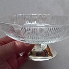 Bol sticla cu talpa argintat
