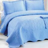 Set Cuvertura de pat + 2 fete perna din  bumbac brodat - EC32