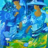"Litografie 76x56 Janick Lederle "" Ombrage bleu""/ hartie bumbac 250gr/mp specimen, Peisaje, Cerneala, Impresionism"