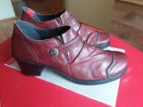 Pantofi Rieker piele naturala, 41, Burgundy, Cu toc