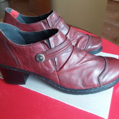 Pantofi Rieker piele naturala - Pantof dama Rieker, Culoare: Burgundy, Marime: 41, Cu toc