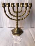 Menora veche,din bronz,masiv,sfesnic,suport pentru 7 lumanari