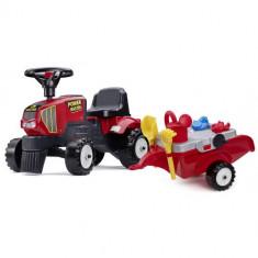 Tractoras Baby Power Master cu Remorca, Forme Nisip, Lopata, Grebla si Stropitoare, Falk