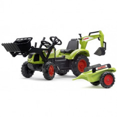 Tractor cu Pedale Claas Arion 430 cu Cupa, Excavator si Remorca Falk