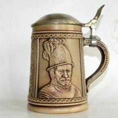 Halba de bere Gerzit cu capac din zinc - soldat mediaval   Marcaj DBGM