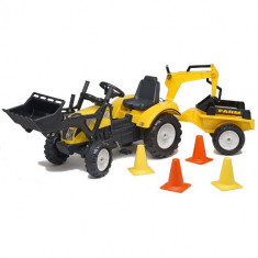 Tractor cu Pedale Ranch Trac cu Cupa, Excavator, Remorca si Casca Protectie Falk