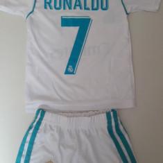Echipament fotbal copii Real Madrid Ronaldo alb marimi 1-3 ani, Marime: Alta