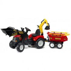 Tractor Powerloader Rosu cu Cupa Functionala, Excavator, Remorca, Grebla si Lopata, Falk