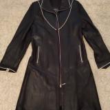 Geaca din piele lunga Femei - palton haina de iarna-toamna femeie dama marime 38 - Geaca dama, Culoare: Negru
