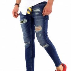 Blugi slim fit barbati albastri conici skinny casual - COLECTIE NOUA A1225