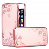 Husa iPhone 5 si 5S - Luxury Flowers Rose Gold, Silicon, Carcasa