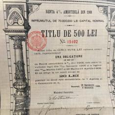 500 Lei Aur titlu de stat obligatiune la purtator cu cupoane 1908