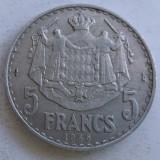 (385) Moneda Monaco 5 francs 1945 (RARA)