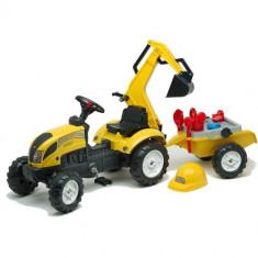 Tractoras cu Pedale Constructor cu Excavator, Remorca, Forme Nisip, Lopata, Grebla si Stropitoare, Falk